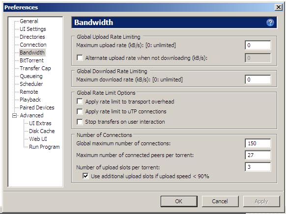 bandwidth settings page
